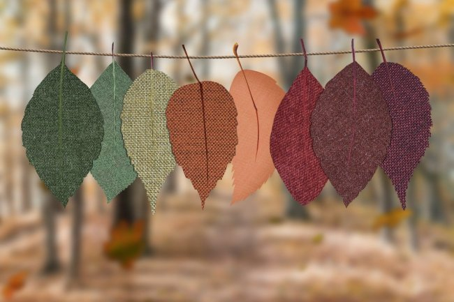 fall leaves in fabric