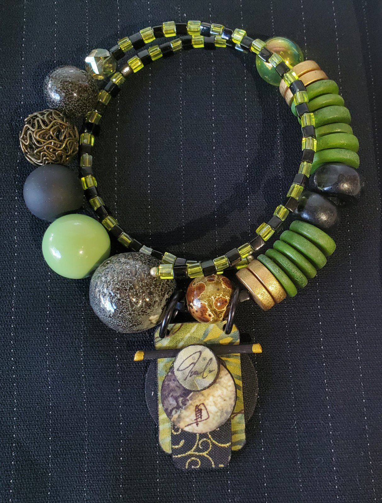 Bead necklace with pendant-NN-010061