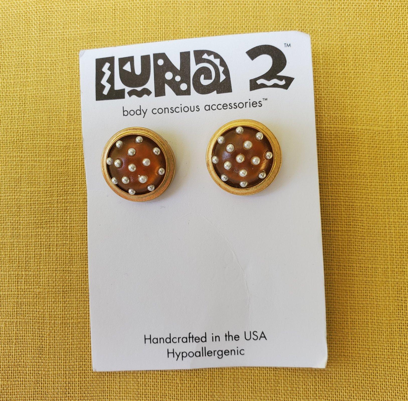 Amber and gold pierced earrings-NN-010035
