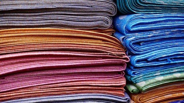 stack of folded fabrics