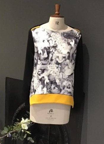 black and white top with yellow band