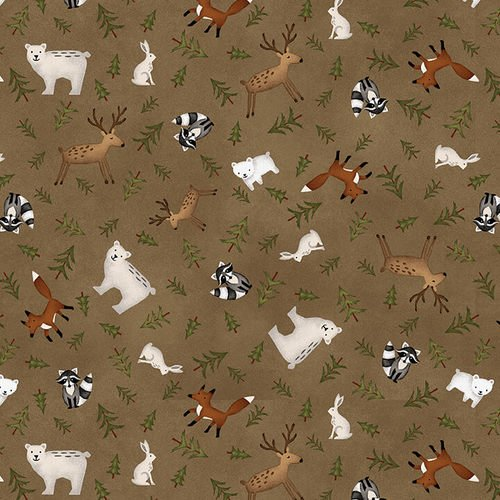 Folk Art Flannel III - Animal Toss Cocoa