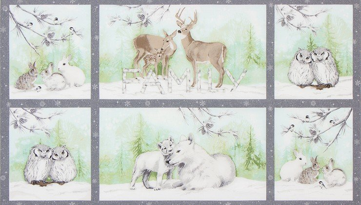 Mist Winter Forest Animal Family Panel 24in w/Metallic