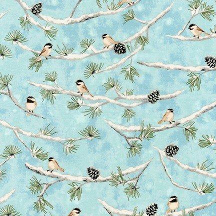 Aqua Bird on Branches w/Metallic