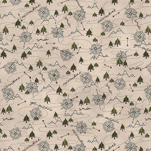 Folk Art Flannels III  - Compass Toss Cream