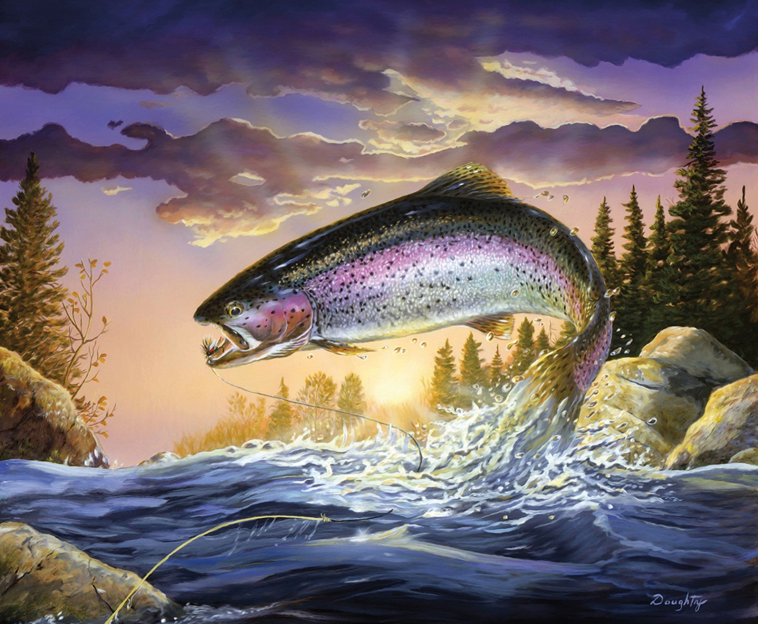 Fish & Fowl Trout Panel 44 x 36 Riley Blake