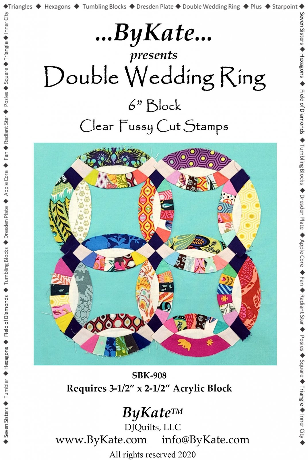 Clear Double Wedding Ring Quilt Pattern and Stamp Set
