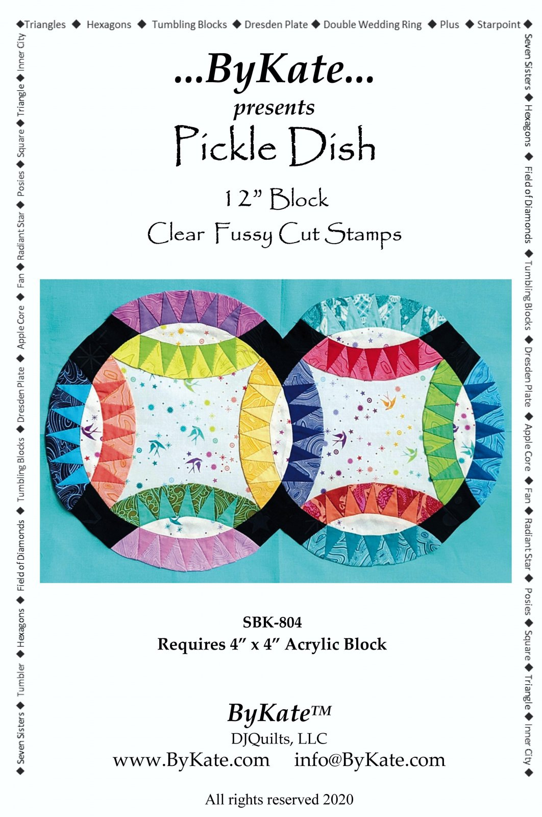 Clear Pickle Dish Double Wedding Ring Quilt Pattern and Stamp Set