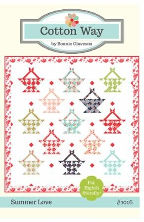 Smitten Summer Love Quilt Kit designed by Bonnie & Camille, Fat Eights pattern, 84 x 84