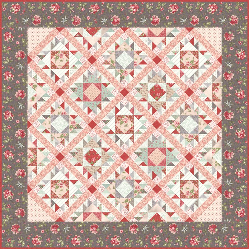 Porcelain Quilt Pattern Designed By 3 Sisters 76 X 76