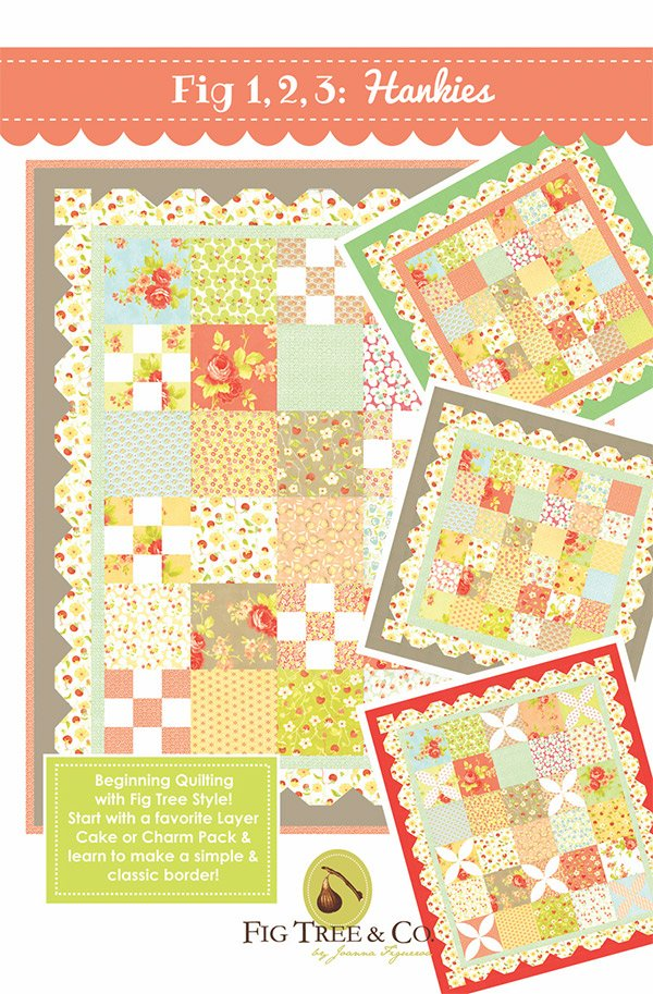 Chantilly Fig 1, 2, 3:  Hankies, Layer Cake friendly Quilt Kit, designed by Fig Tree & Co., for Moda, 55 x 63