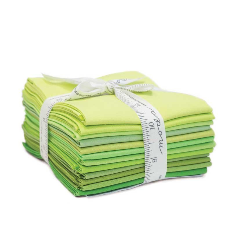Bella Solids 12 Gradient Green Fat Quarters designed by Moda Fabrics