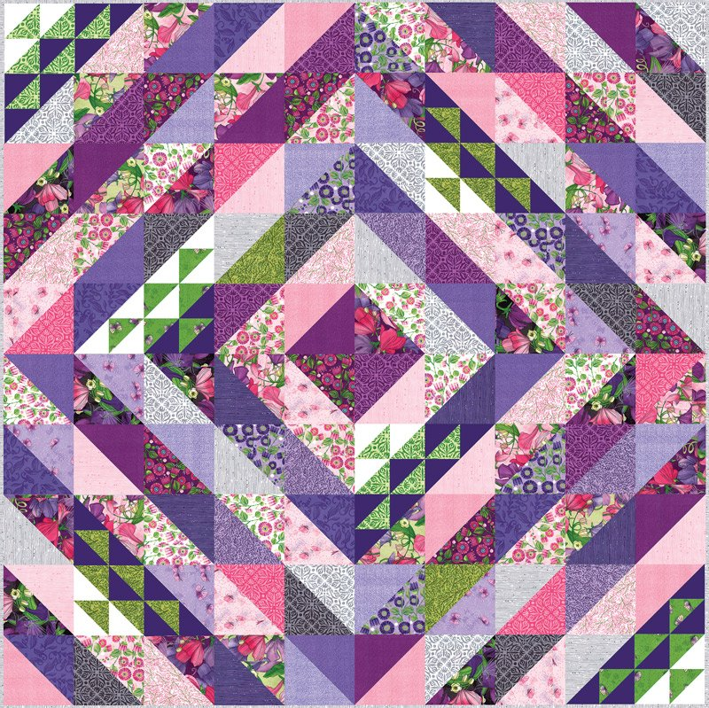 Sweet Pea & Lily Faceted Quilt Kit designed by Robin Pickens for Moda, 75 x 75