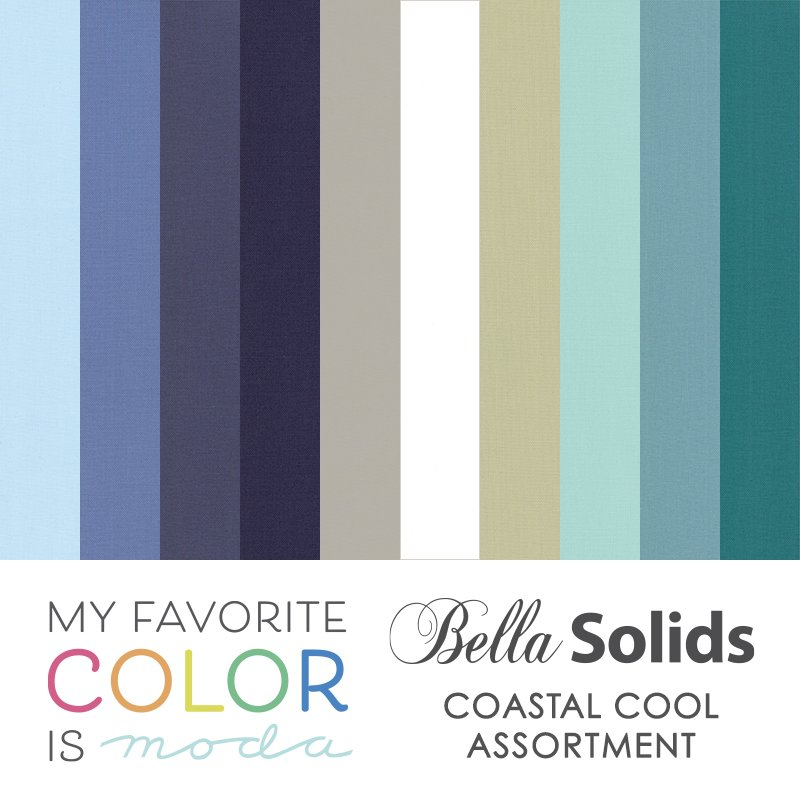 PRE-ORDER yours now...My favorite Color is Moda Quilt Kit Coastal Cool, a monthly sew-a-long, 81 x 99