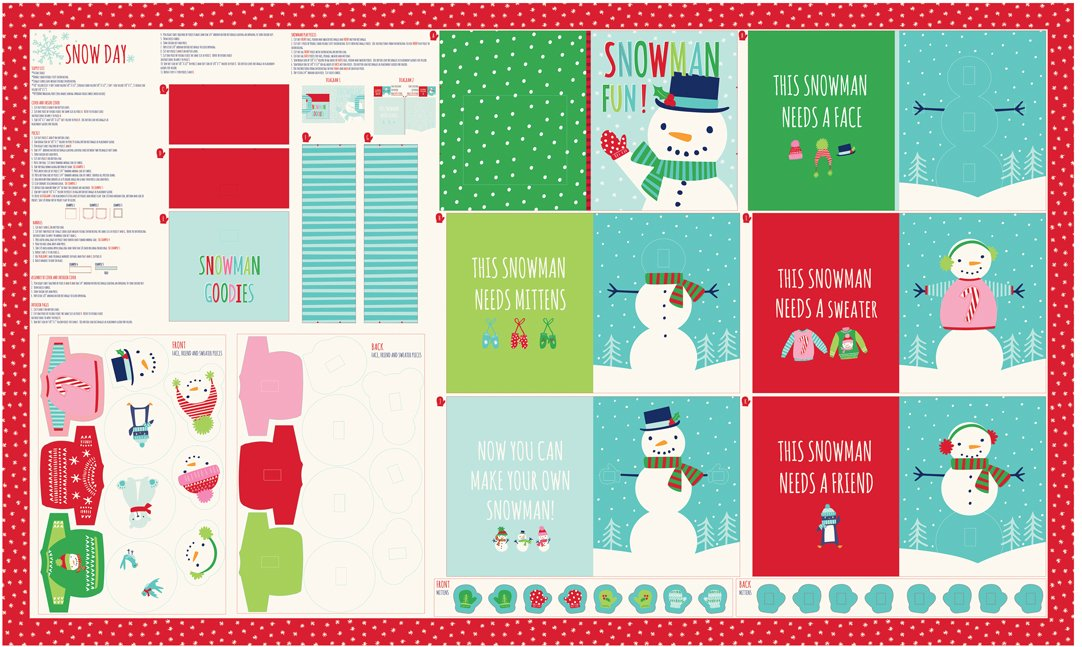 Snow Day Snowman Fun Panel 36 x 60, finished book measures 7.75 x 10, designed by Stacy Iest Hsu