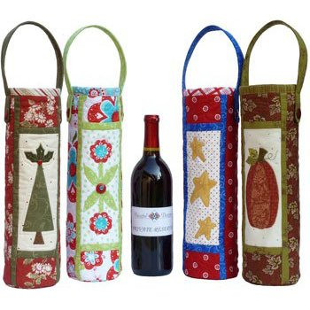 CHEERS! Wine Bag Pattern, Four Wine Bag Designs...one for each Season of the year
