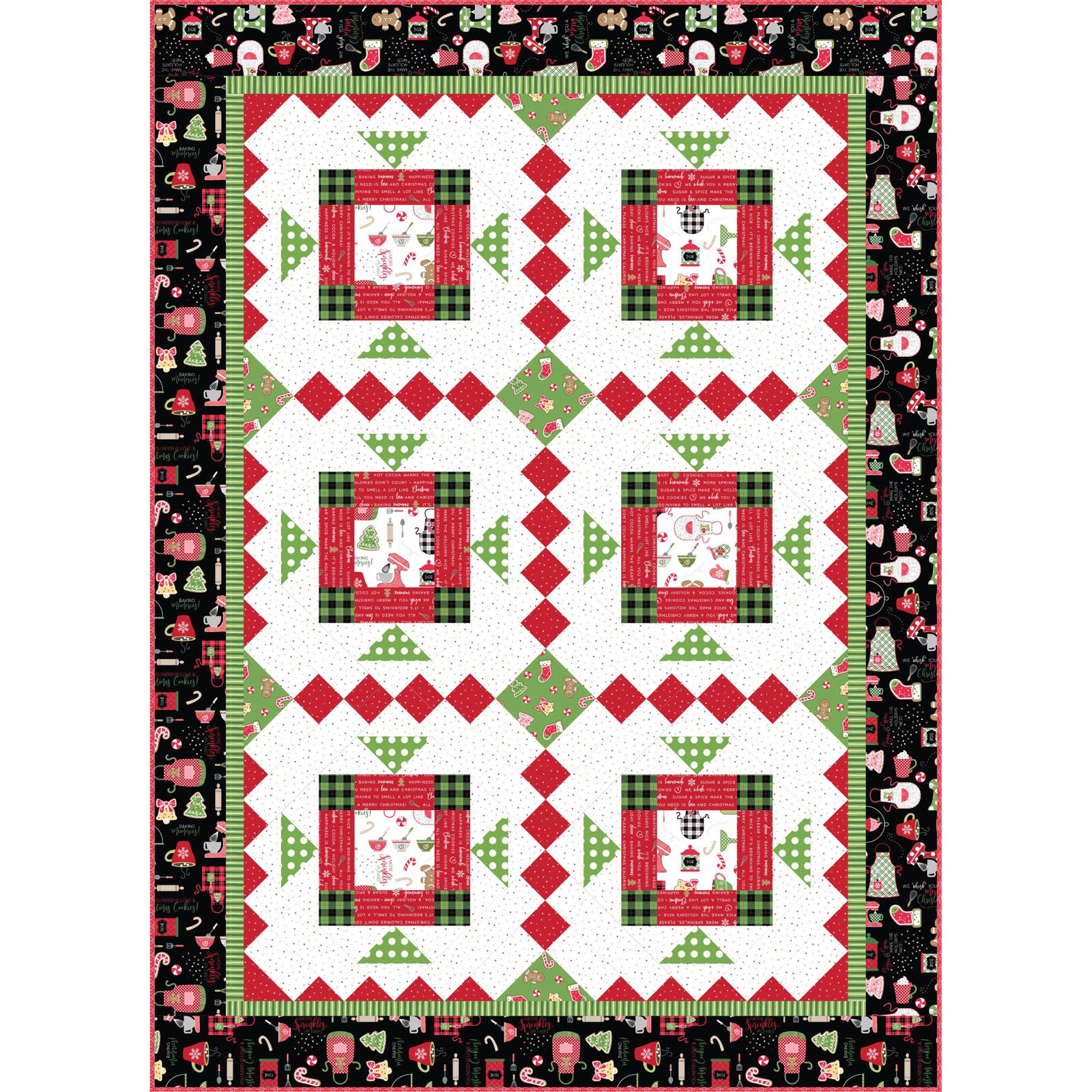 We Whisk you a Merry Christmas!  Christmas Mixer Quilt Kit, 44 x 61, designed by Kim Christopherson