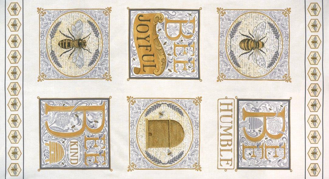 Bee Joyful 24 x 44 Laurel White Panel designed by Deb Strain for Moda