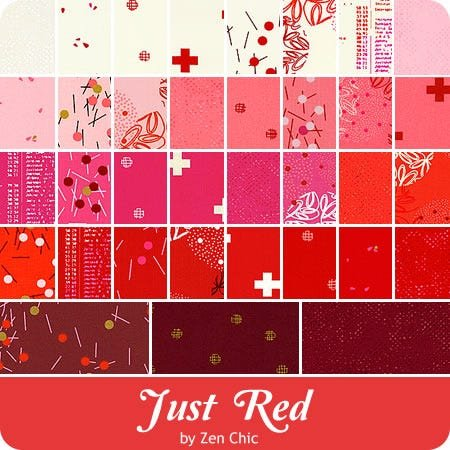 Just Red Fat Quarter Bundle - 19 FQs