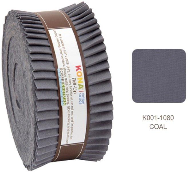 2 1/2 strips Roll Up  Kona Cotton, Coal, 40 pieces