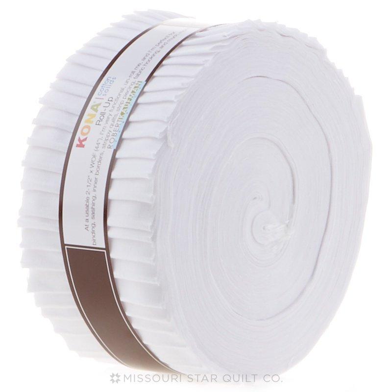 2 1/2 stripsRoll Up Kona Cotton Solids - White, 40 pieces