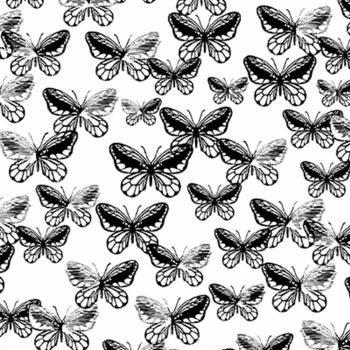 Tonal Butterflies White/Black