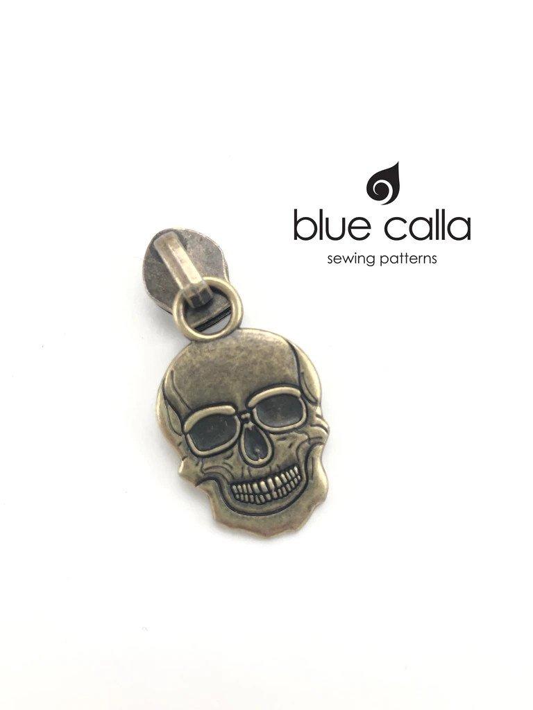 Zipper Pull Skull Antique Brass
