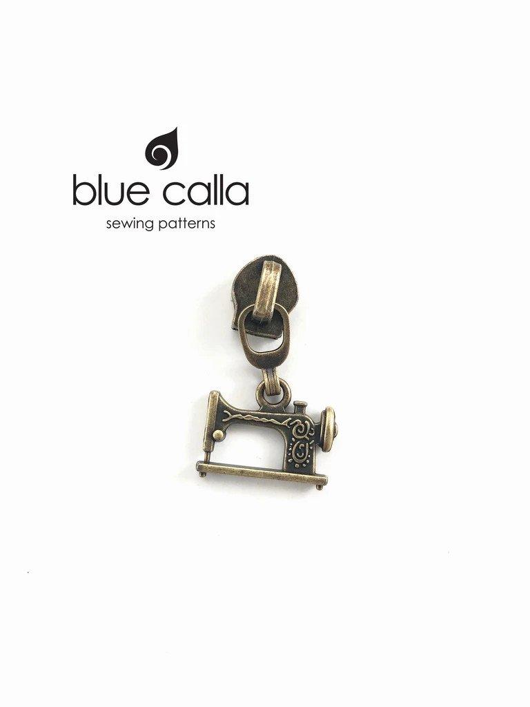 Zipper Pull Sewing Machine Antique Brass