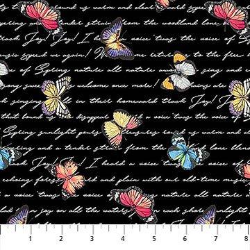 Northcott Botanica - Butterfly Script 23288-99