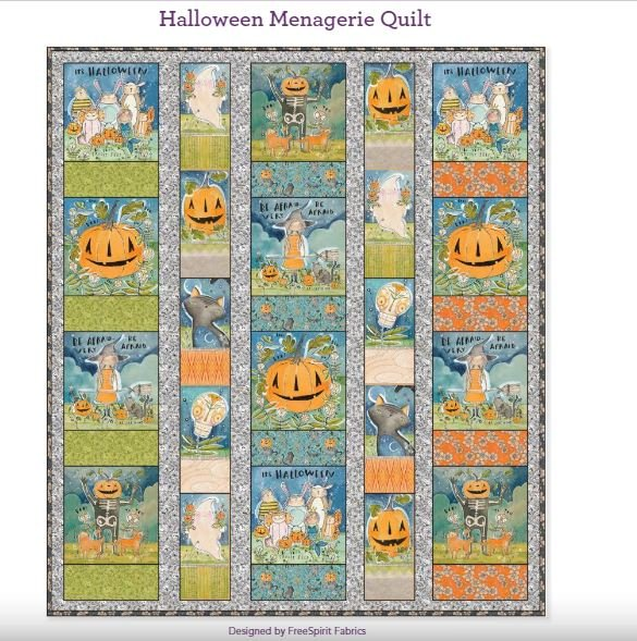 Halloween Menagerie Quilt Kit featuring Spirit of Halloween fabric collection