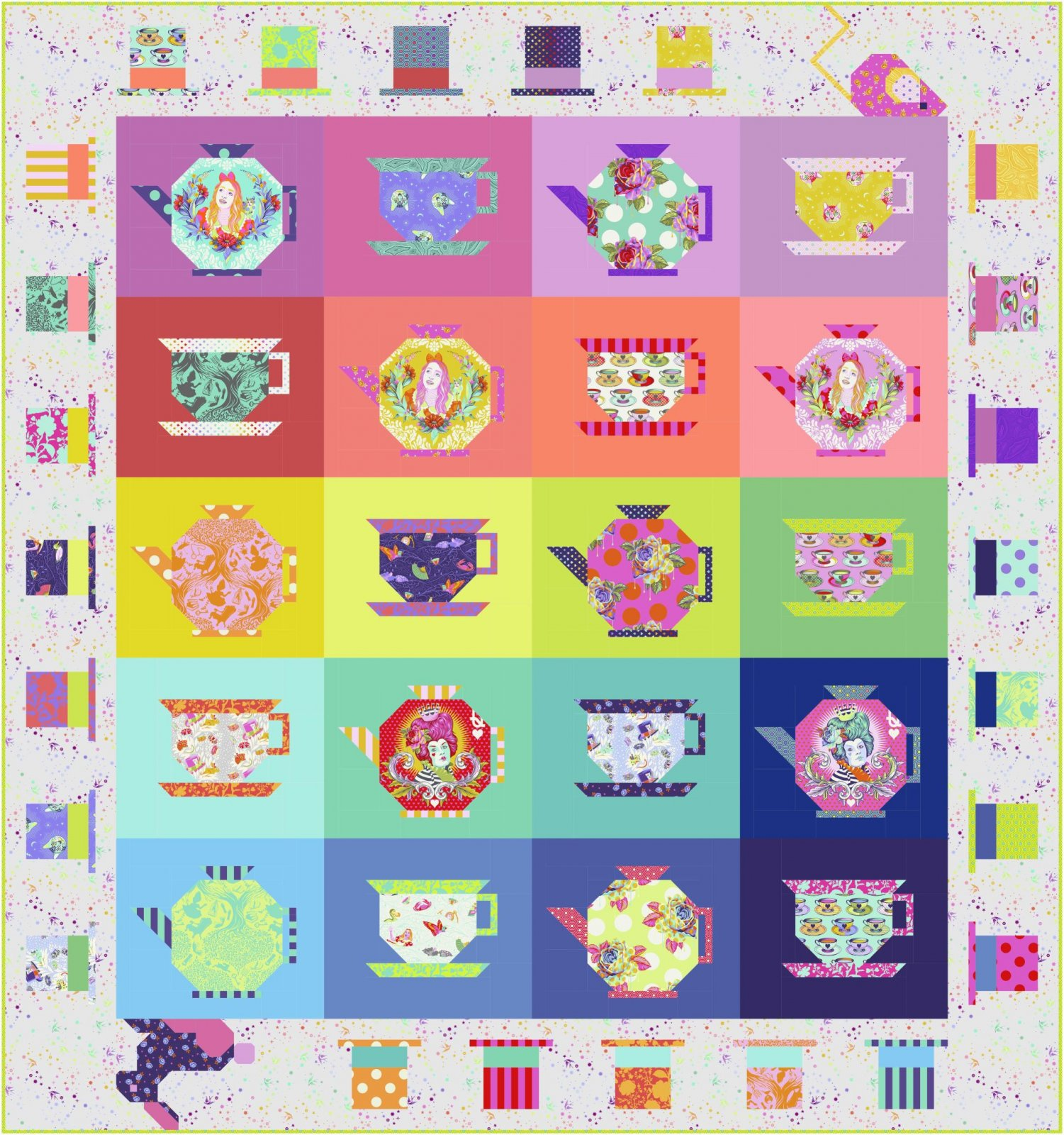 PRE-ORDER Mad Hatters Tea Party Quilt Kit