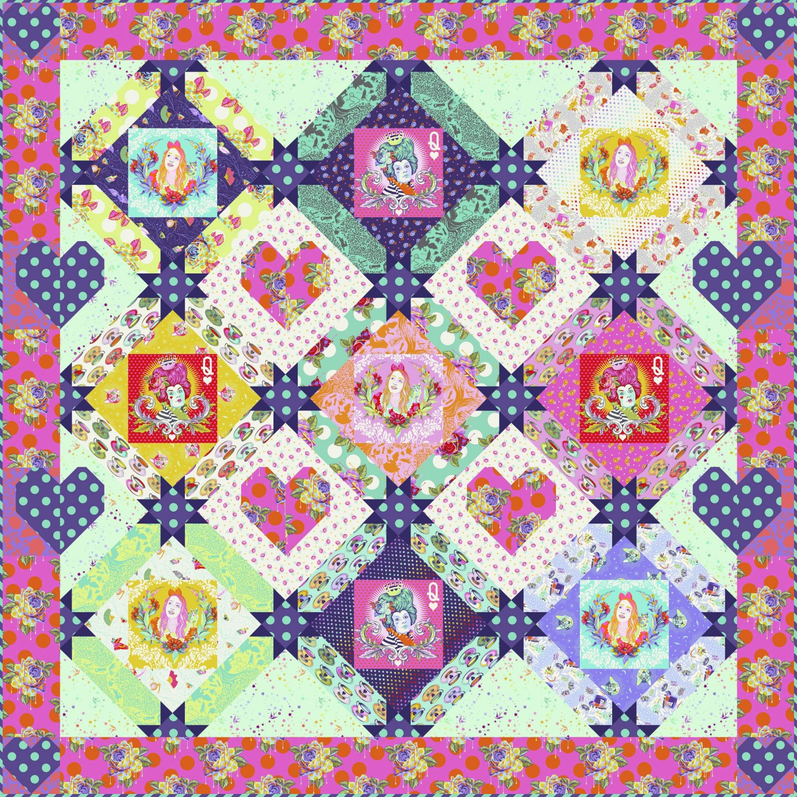 PRE-ORDER Queen of Hearts Quilt Kit