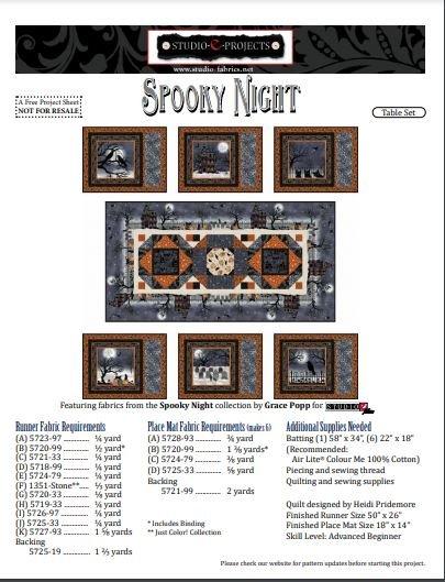 Spooky Night Table Runner Kit