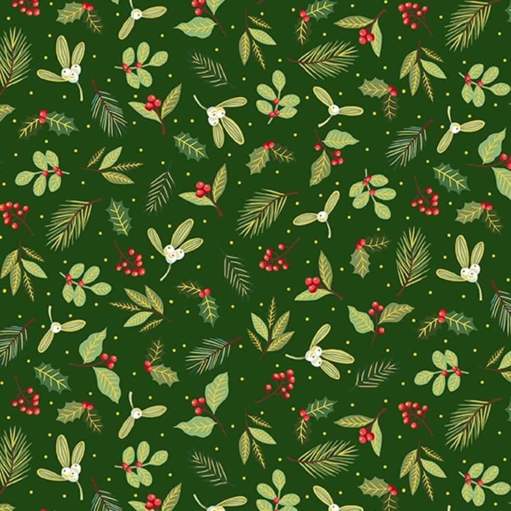 Holly on Green - Metallic Gold Yuletide Scatter