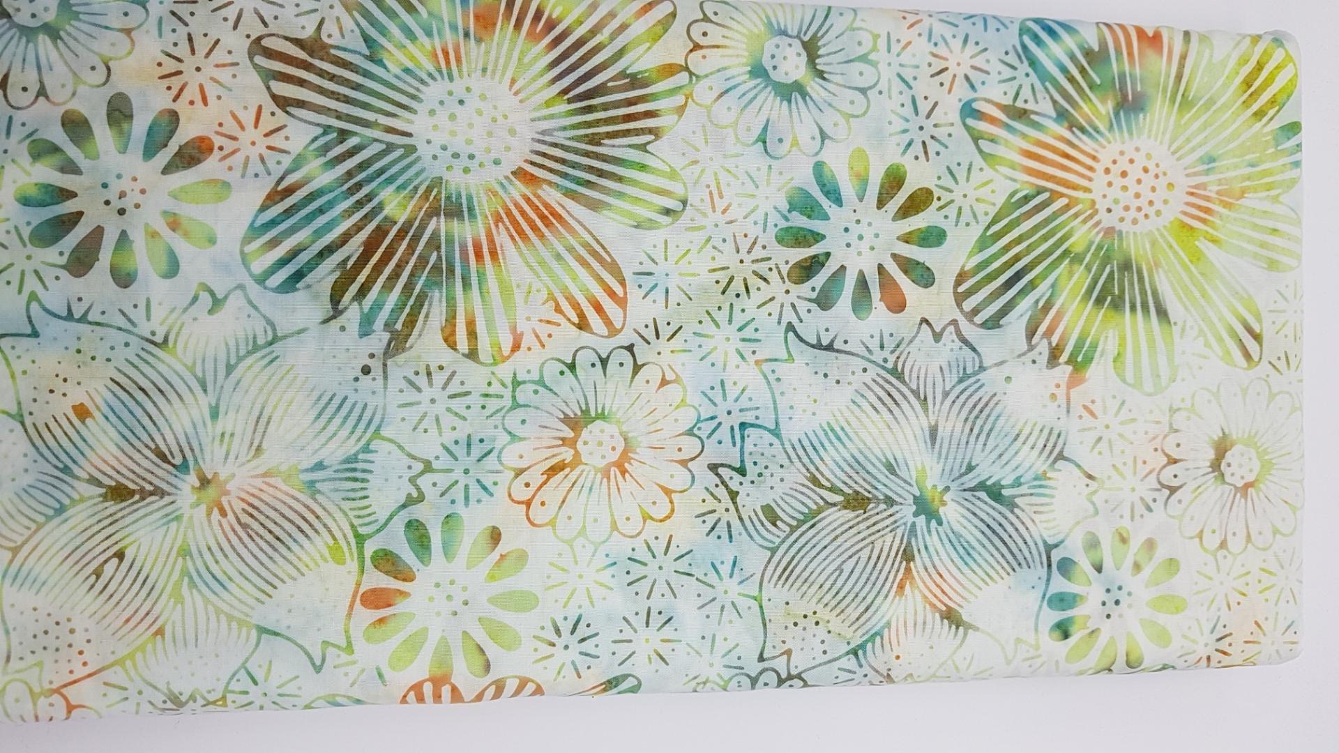 Multi Colour Floral on White - Batiks