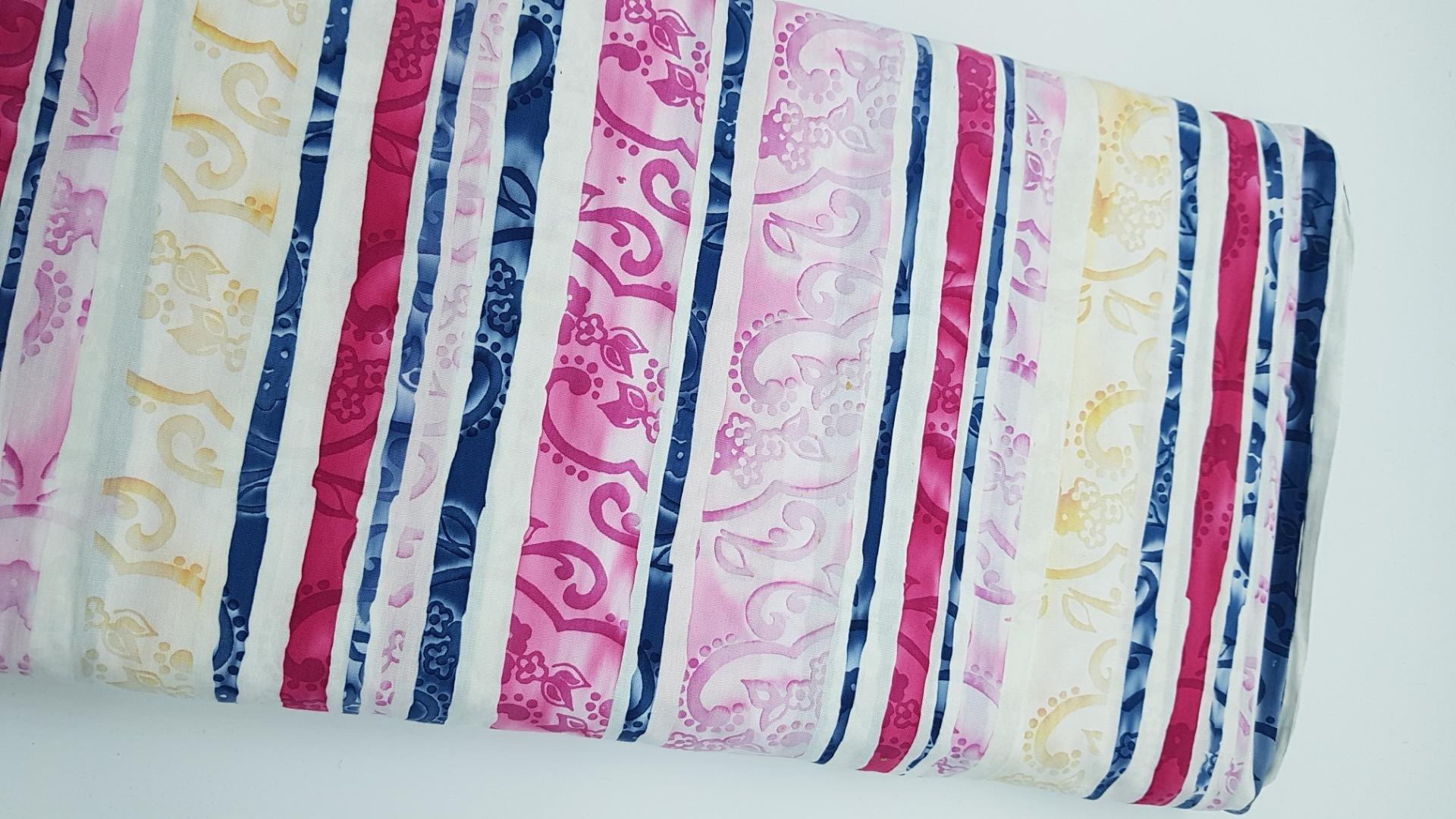 Blue, Pink and Cream Stripe - Batiks