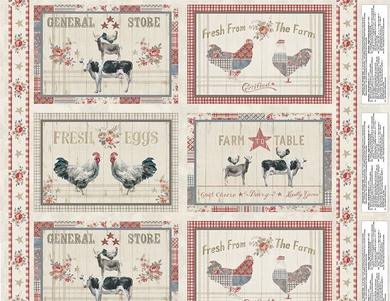 Farmhouse Chic Placemat Fabric Panel