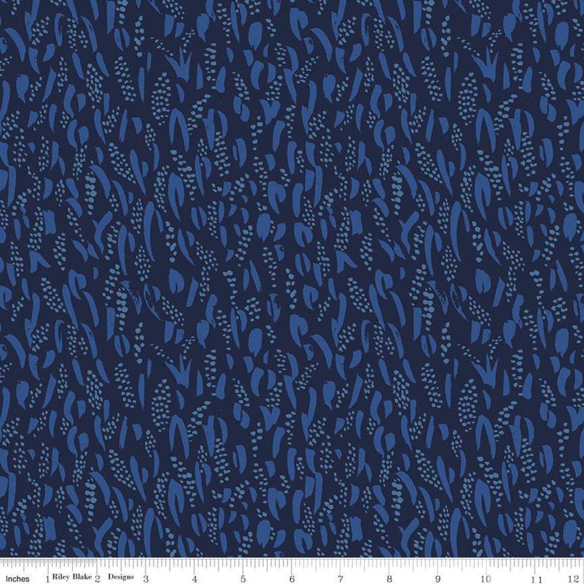 Rayon Challis Midnight Bluebell