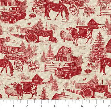 VINTAGE CHRISTMAS RED TOILE