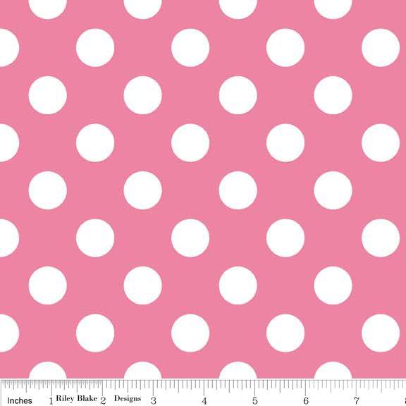 Medium Dots Flannel Hot Pink