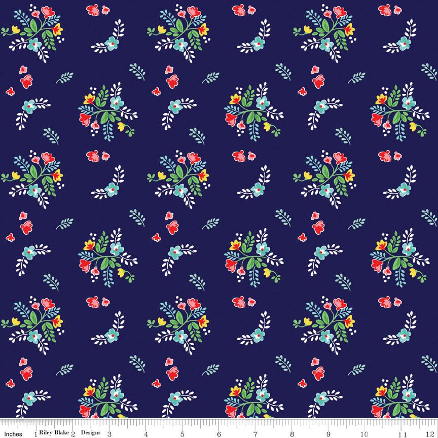 Knit Vintage Floral Navy