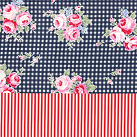 Navy Rose Double Border Cotton