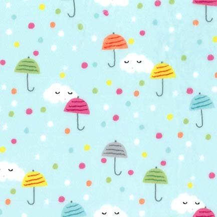 Happy Clouds Aqua Minky