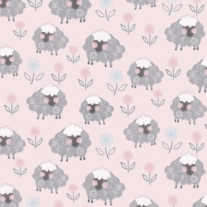 Playful Sheep Pink Flannel