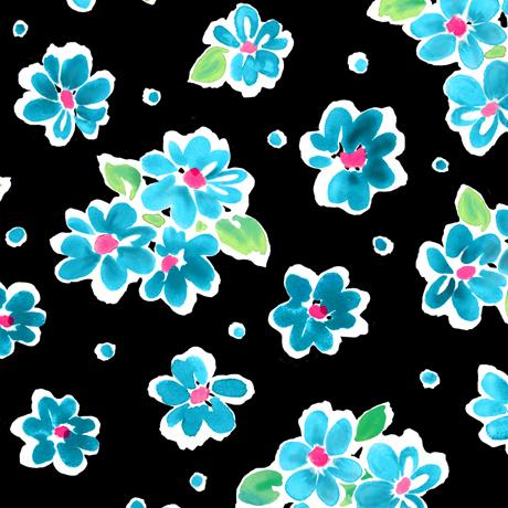 Tossed Floral Black