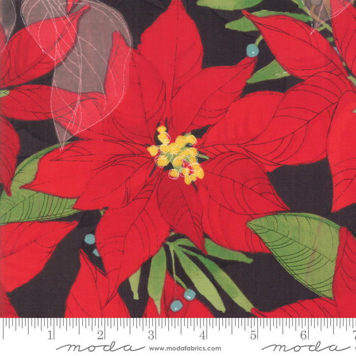 Poinsettias Black
