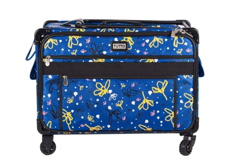 Tutto XL-Large 24 Inch Blue Machine Trolley With Daisy-Interior: 23L X 15H X 14D