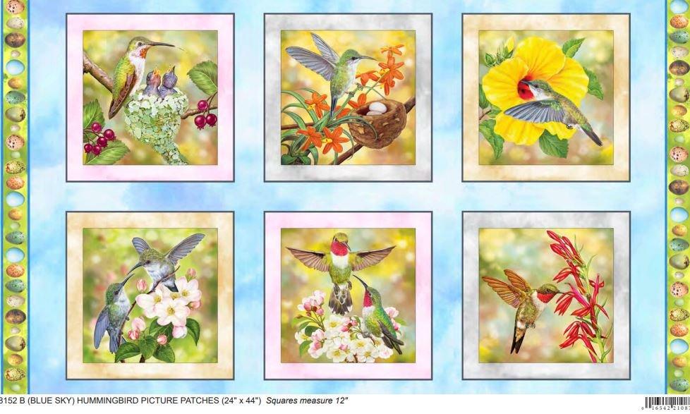 Hummingbird Garden HUMMINGBIRD PICTURE PATCHES SKY BLUE PANEL