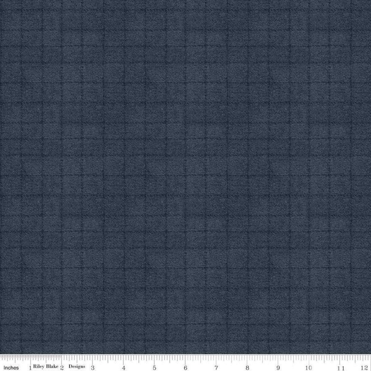 Woolen Flannel Grid Navy