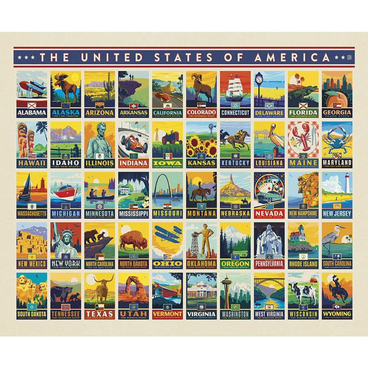 Destinations State Pride Poster Fabric Panel